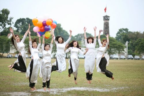 girls happy celebrate