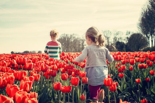 girls children tulips