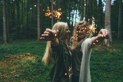 girls sparklers fireworks