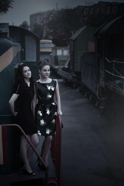 girls at the station train pin up girl