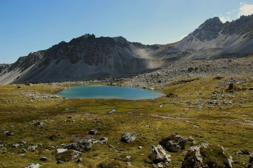 glacial lake alpine mountains