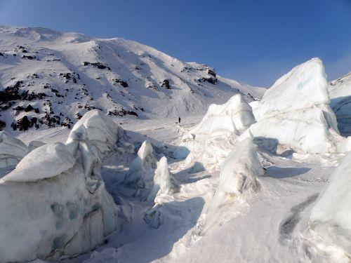 ledynas,vulkanas,blokai,kamchatka,kozelskis vulkanas,praeiti,aukštis,sniegas,ledas,žiema,kalnas,gamta,kraštovaizdis,Sneznik