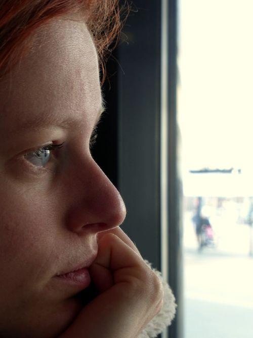 glance staring girl
