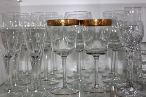 glass stemware gold