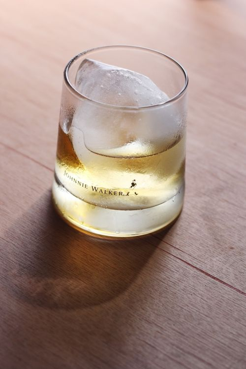 glass ice whiskey
