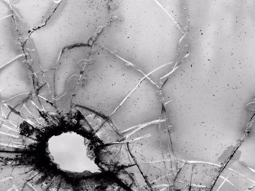 glass bullet hole