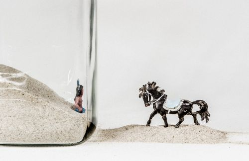 glass still life horse