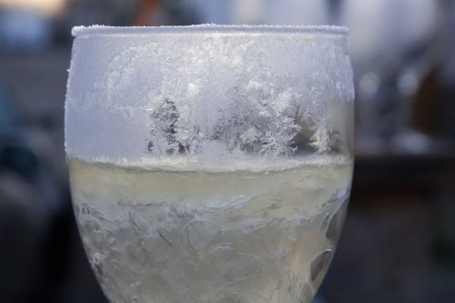 glass champagne frozen