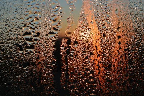 glass condensation sunrise
