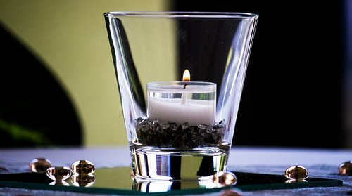 glass  reflection  candle