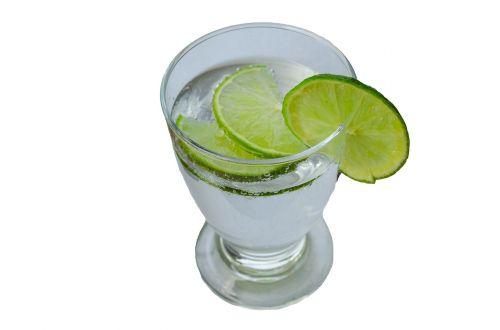 glass mineral water slice of lemon
