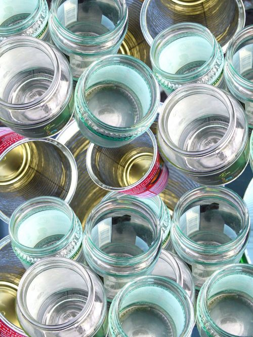 glass recycling cans