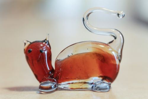 glass cat glass sculpture