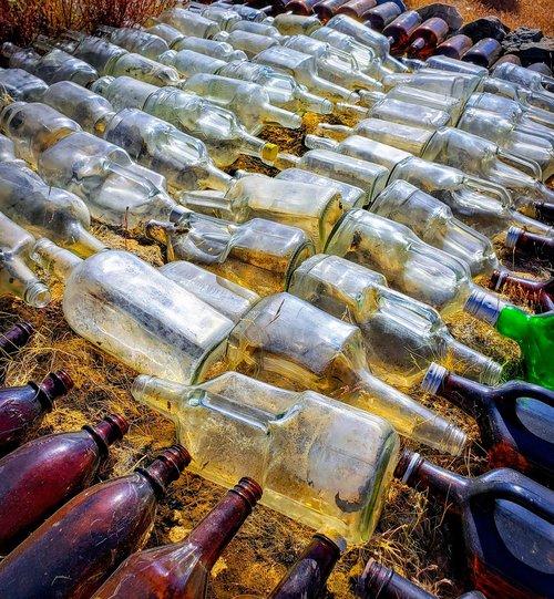 glass  bottles  organized