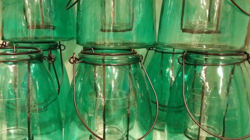 stiklas,žalias,puodai
