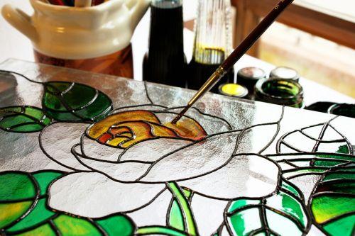 stiklas,dažymas,menas,piešimas,rosa,šepetys,dažyti,vitražas,artistica,vykdymas,žiedlapis,užpildymas,spalva