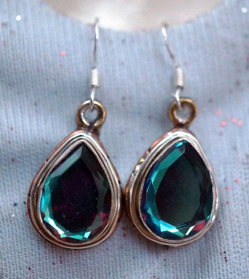 glass copper sterling silver earrings