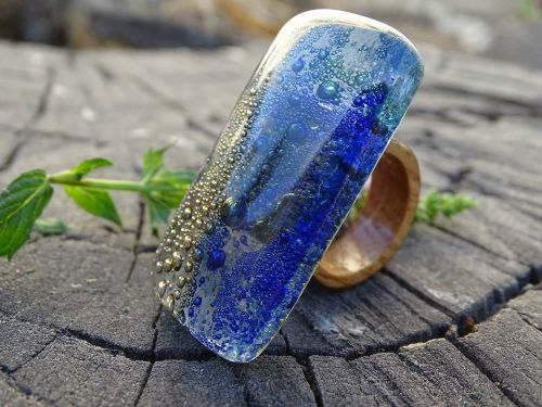 glass and wood ring jewelry seascape