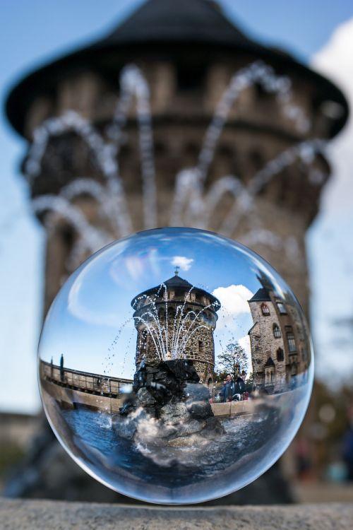 glass ball tower fountain