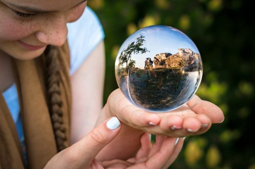 glass ball fortune teller hand