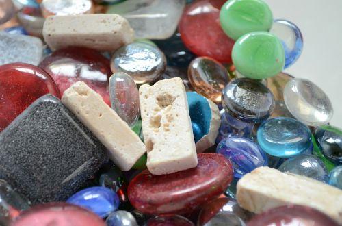 glass beads glass blocks stones