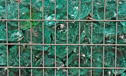 glass blocks grid green