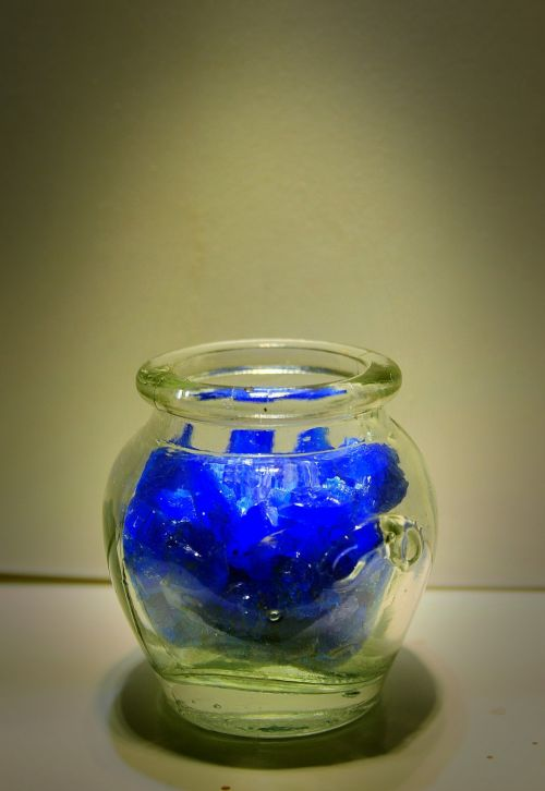 Glass Container And Blue Salt