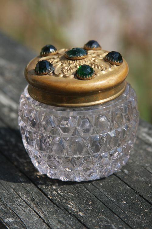 glass jar jeweled vintage jar vintage perfume jar