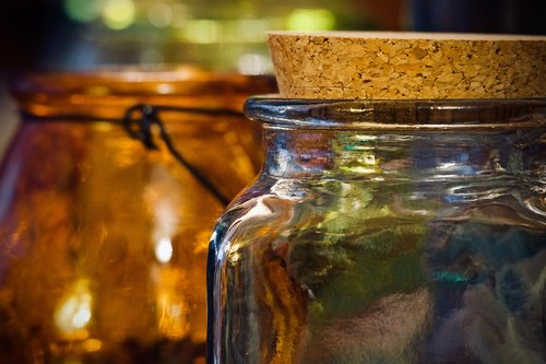 glass jars  containers  lights