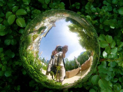 glass orb reflection garden decor