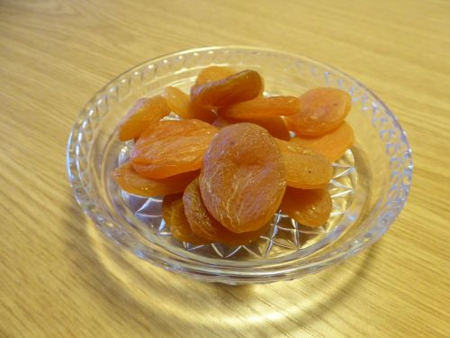 glass plate dried fruit apricots