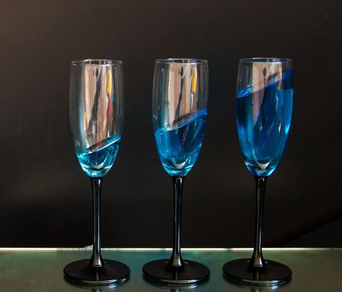glasses blue colour water