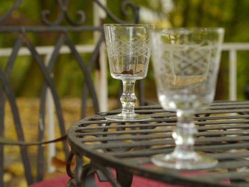 glasses glass garden table
