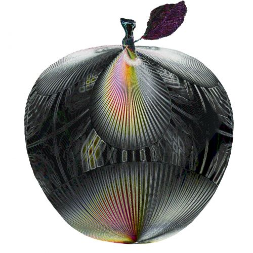 Gleaming Metallic Textured Apple