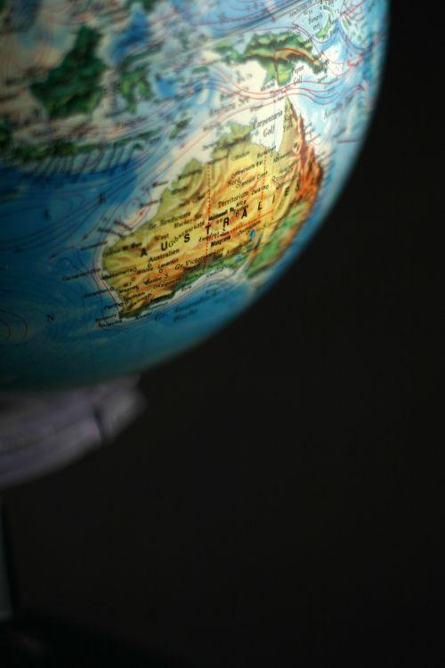 globe australia continents