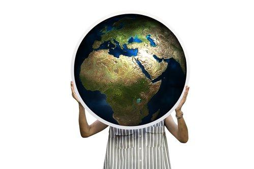 globe  africa  woman