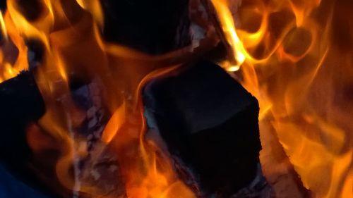 Glowing Burning Wood
