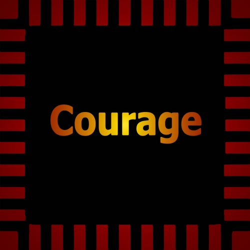 Glowing Gold Courage Sign