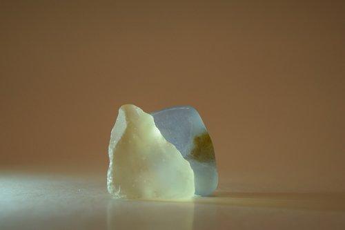 glowing rocks  glass  sea glass