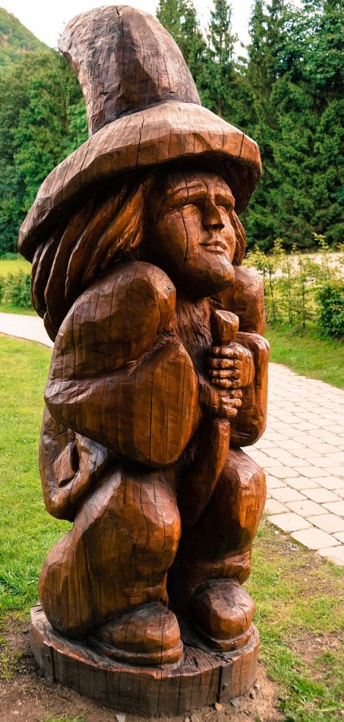 goblin wood statue