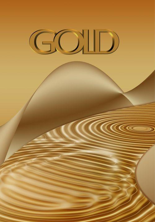gold waves circles water
