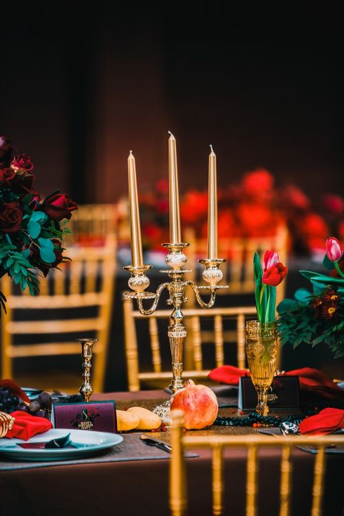 gold candlestick candle