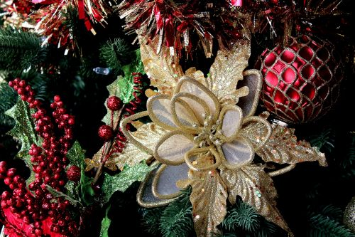 christmaschristmasornaments redgoldglitteryshinypoinsettia - Poinsettia Christmas Tree Decorations