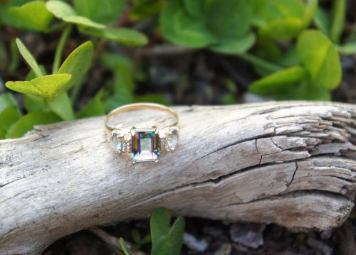 gold ring crystal driftwood