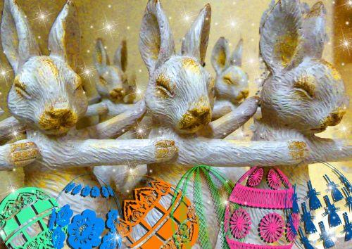 Golden Bunnies And Eggs