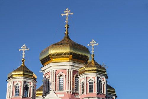 golden domes  church  blue sky