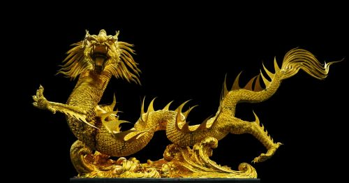 golden dragon broncefigur gold