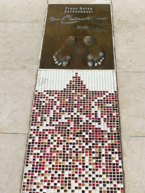 golden foot footprint franz anton beckenbauer