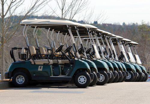 golf carts golf parked