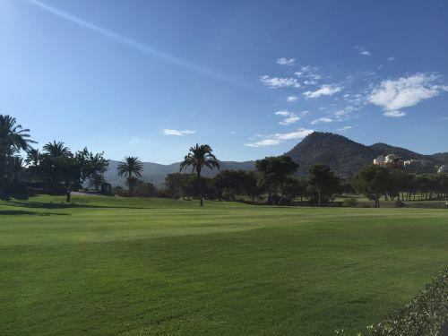 golfo laukas,kalvos,Ispanija,golfo aikštynas,medis,kelionė